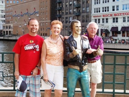 2 AMGBA Officers (Frank Ochal, Margie Springer & Bruce Mages with Fonzie) in Milwaukee